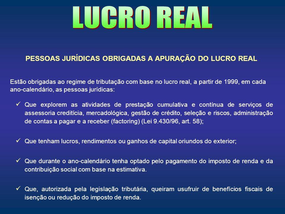 PESSOAS JURÍDICAS OBRIGADAS A APURAÇÃO DO LUCRO REAL
