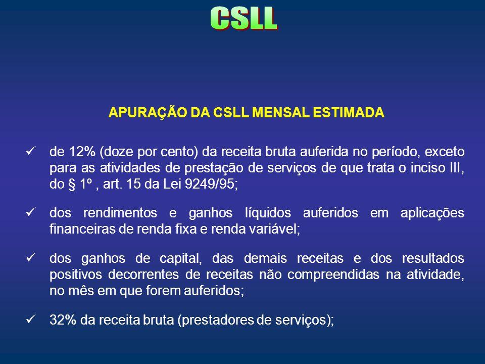 APURAÇÃO DA CSLL MENSAL ESTIMADA