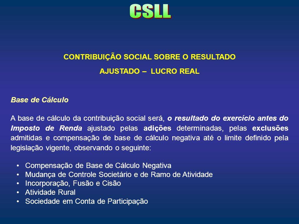 CONTRIBUIÇÃO SOCIAL SOBRE O RESULTADO