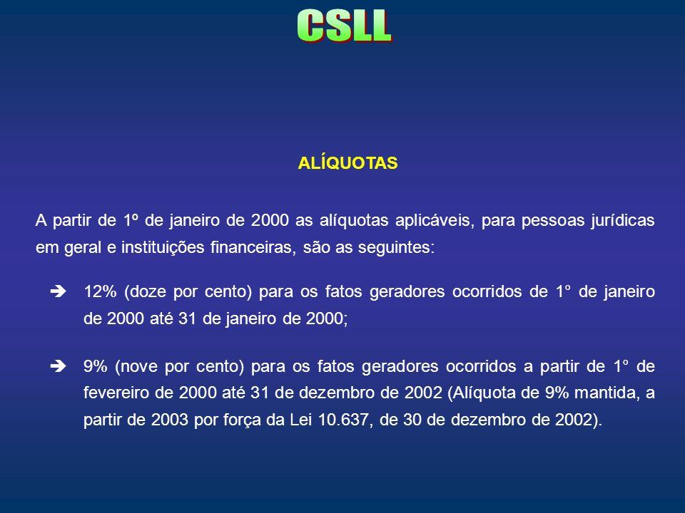 CSLL ALÍQUOTAS.