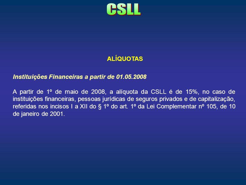 CSLL ALÍQUOTAS Instituições Financeiras a partir de 01.05.2008