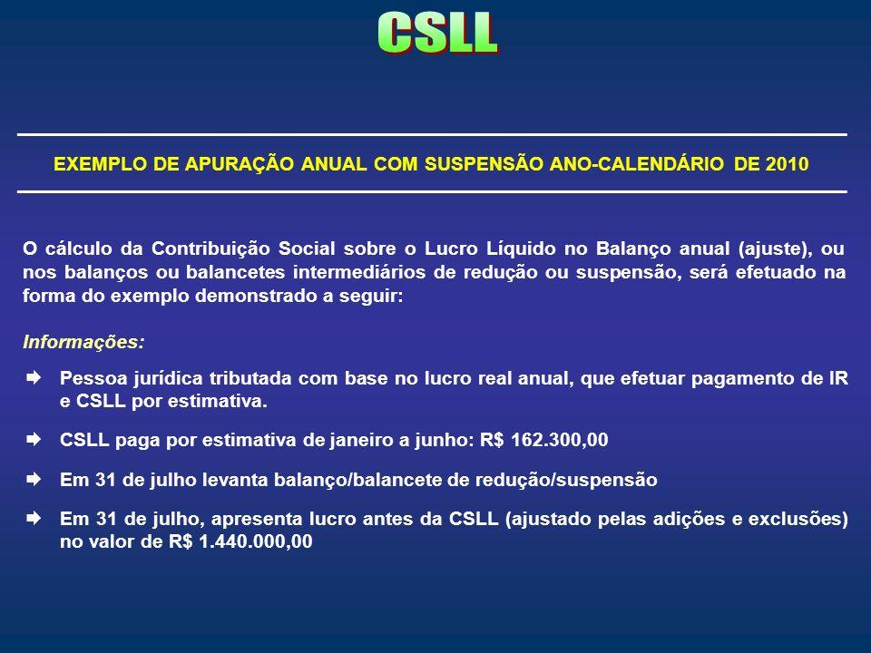 EXEMPLO DE APURAÇÃO ANUAL COM SUSPENSÃO ANO-CALENDÁRIO DE 2010