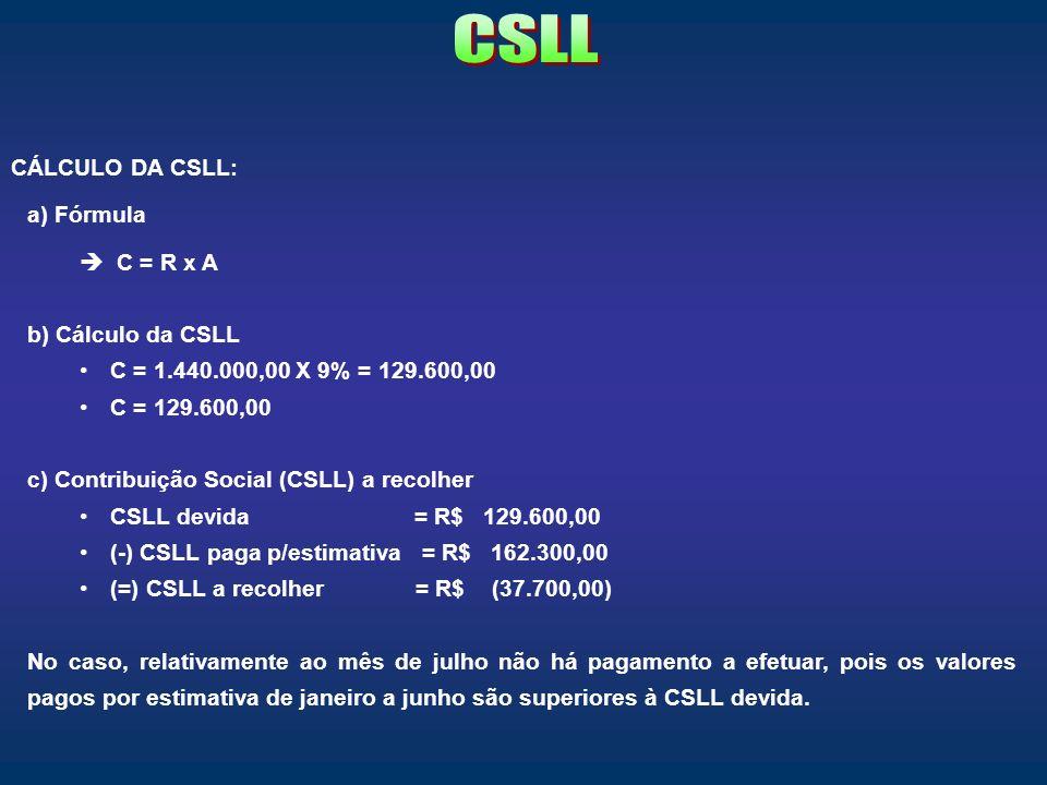 CSLL CÁLCULO DA CSLL: a) Fórmula C = R x A b) Cálculo da CSLL