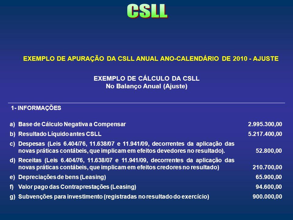 EXEMPLO DE CÁLCULO DA CSLL