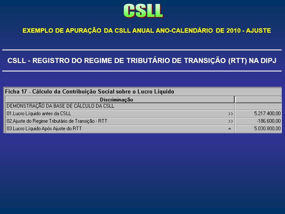 CSLL - REGISTRO DO REGIME DE TRIBUTÁRIO DE TRANSIÇÃO (RTT) NA DIPJ