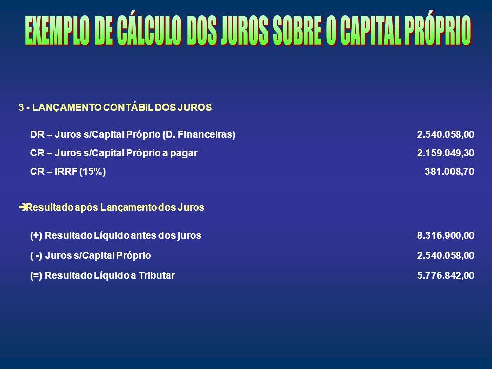 EXEMPLO DE CÁLCULO DOS JUROS SOBRE O CAPITAL PRÓPRIO