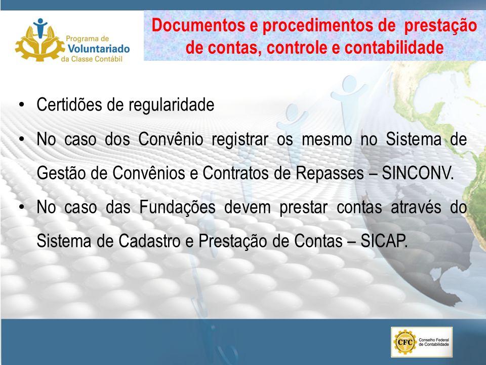 Documentos e procedimentos de prestação de contas, controle e contabilidade