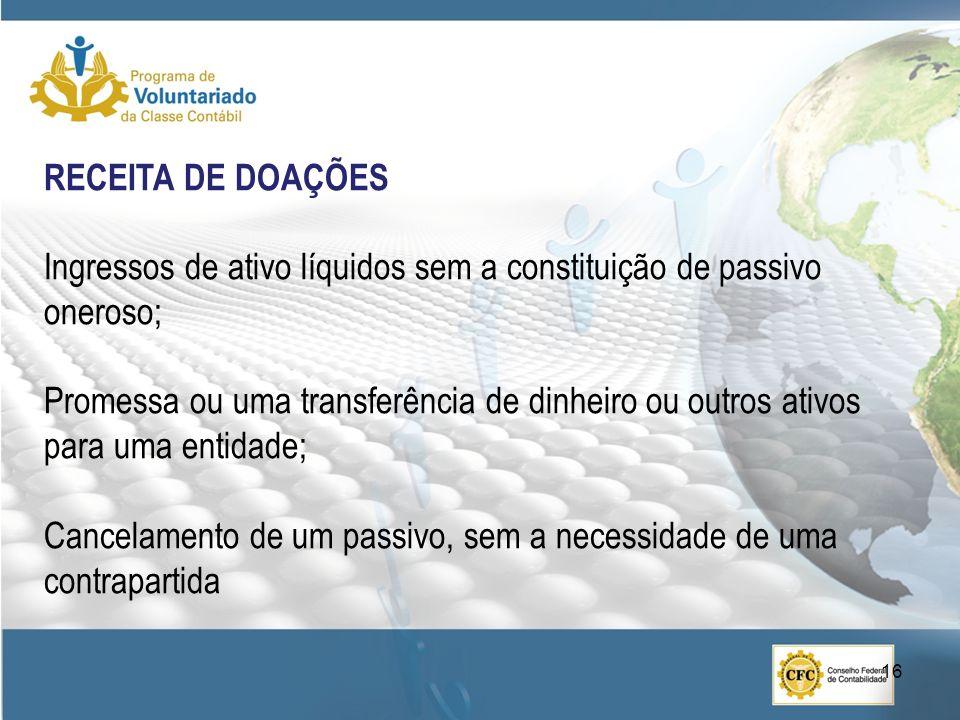 RECEITA DE DOAÇÕES Ingressos de ativo líquidos sem a constituição de passivo oneroso;