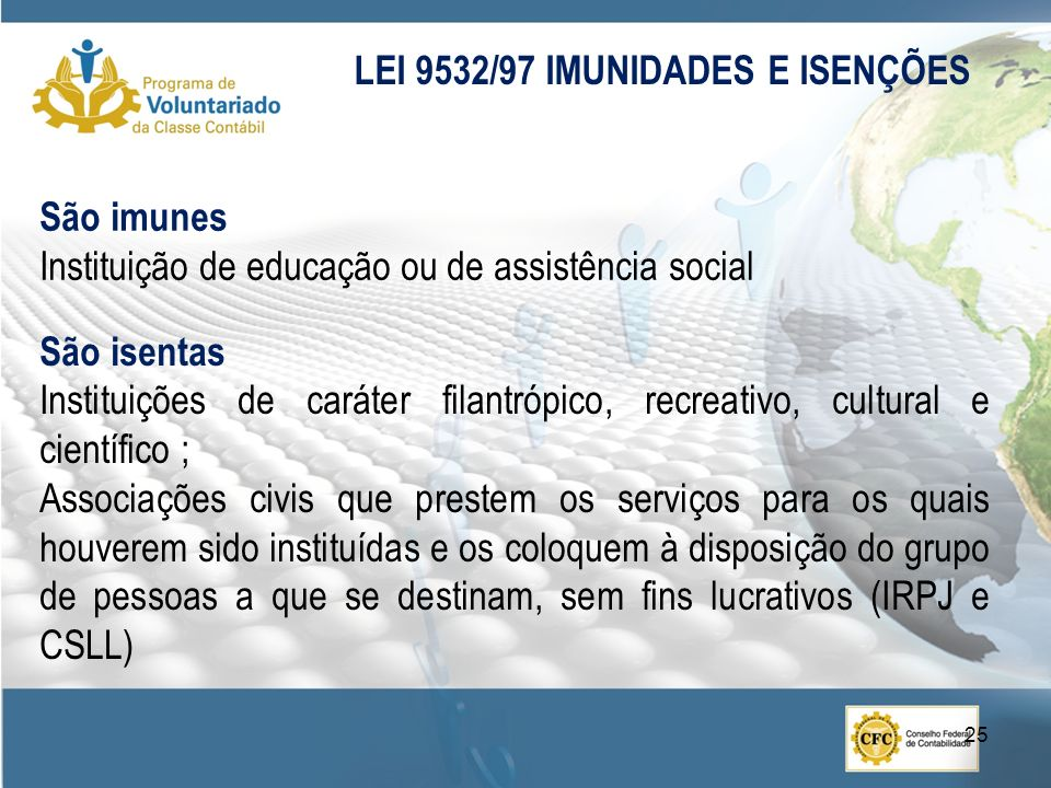 LEI 9532/97 IMUNIDADES E ISENÇÕES