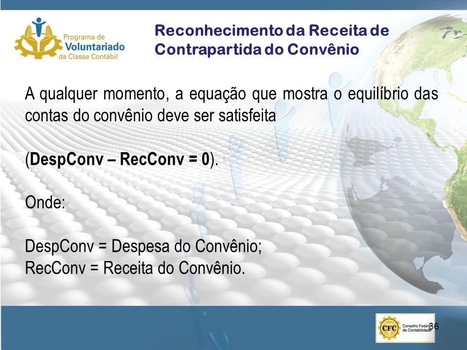 DespConv = Despesa do Convênio; RecConv = Receita do Convênio.