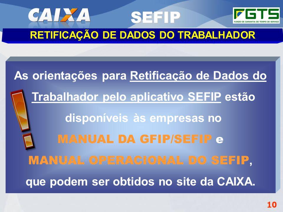 GEPAE - Cenários SEFIP. RETIFICAÇÃO DE DADOS DO TRABALHADOR. Gerência de Filial Administrar FGTS – GIFUG/CB.