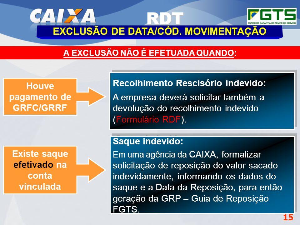 RDT EXCLUSÃO DE DATA/CÓD. MOVIMENTAÇÃO