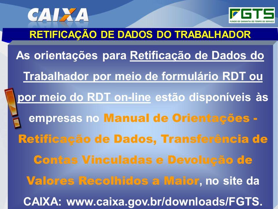 RETIFICAÇÃO DE DADOS DO TRABALHADOR