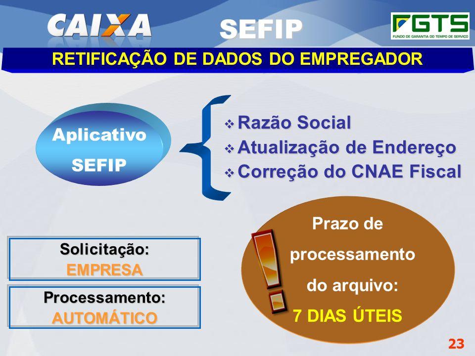 SEFIP Razão Social Atualização de Endereço Correção do CNAE Fiscal