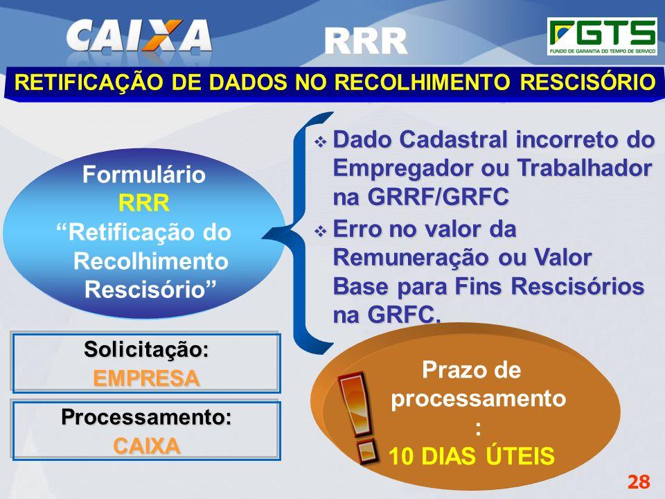 RRR Dado Cadastral incorreto do Empregador ou Trabalhador na GRRF/GRFC