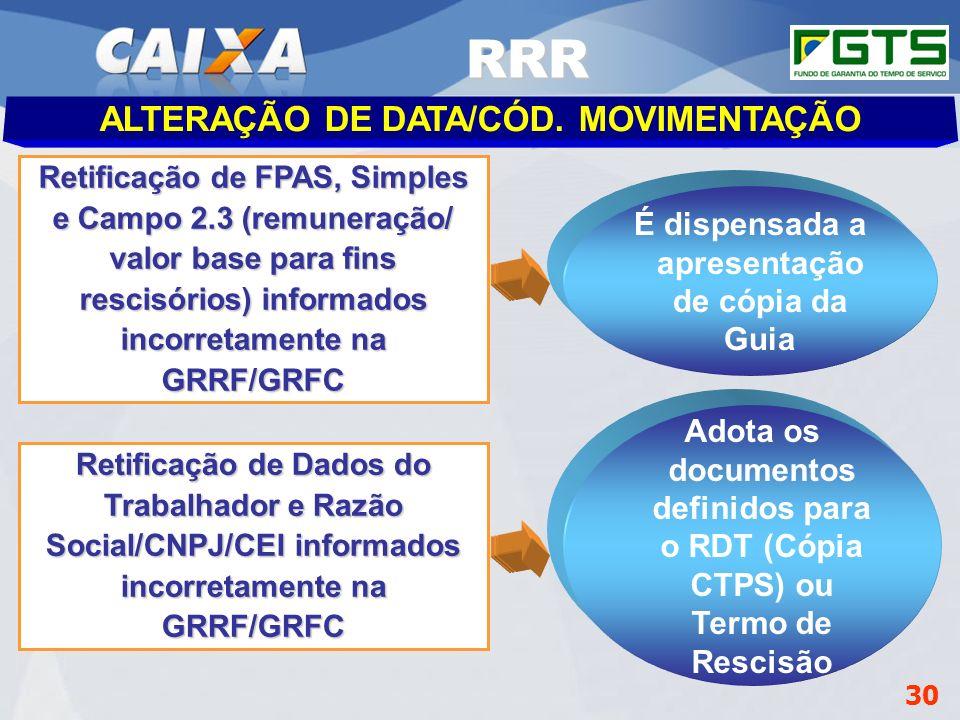 RRR ALTERAÇÃO DE DATA/CÓD. MOVIMENTAÇÃO