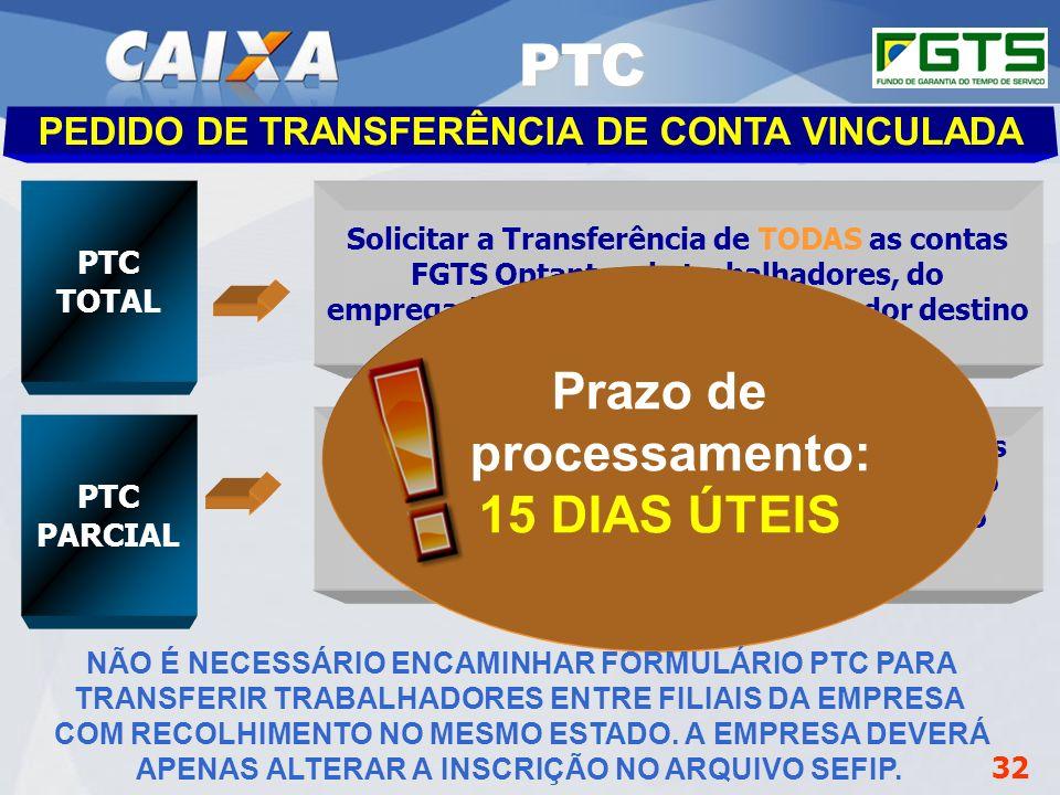 PTC Prazo de processamento: 15 DIAS ÚTEIS