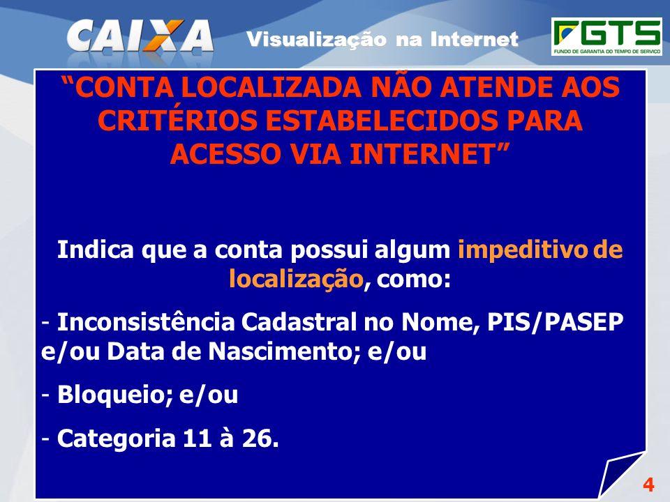 GEPAE - Cenários Visualização na Internet. CONTA LOCALIZADA NÃO ATENDE AOS CRITÉRIOS ESTABELECIDOS PARA ACESSO VIA INTERNET