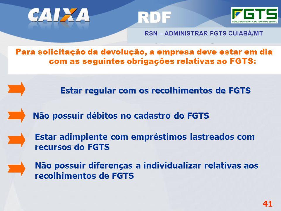 RDF Não possuir débitos no cadastro do FGTS