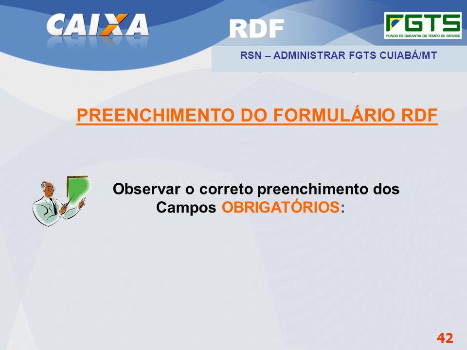RDF PREENCHIMENTO DO FORMULÁRIO RDF