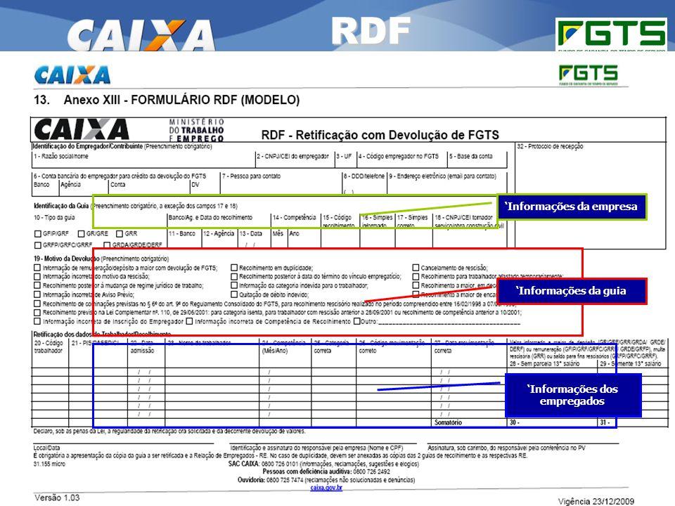RDF RSN Administrar o FGTS – Cuiabá/MT 'Informações da empresa