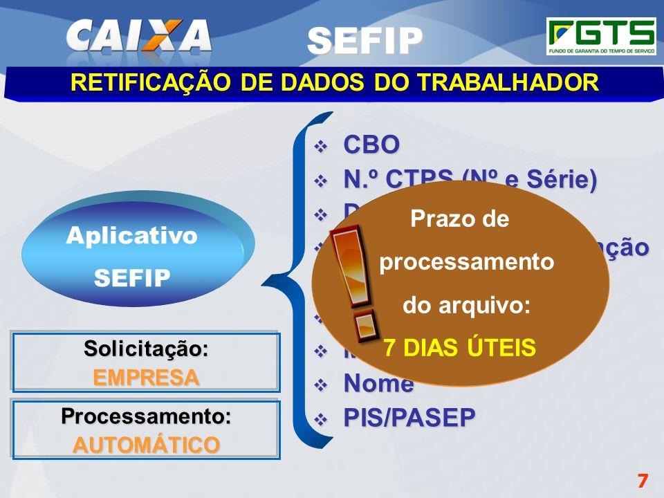 RETIFICAÇÃO DE DADOS DO TRABALHADOR Prazo de processamento do arquivo: