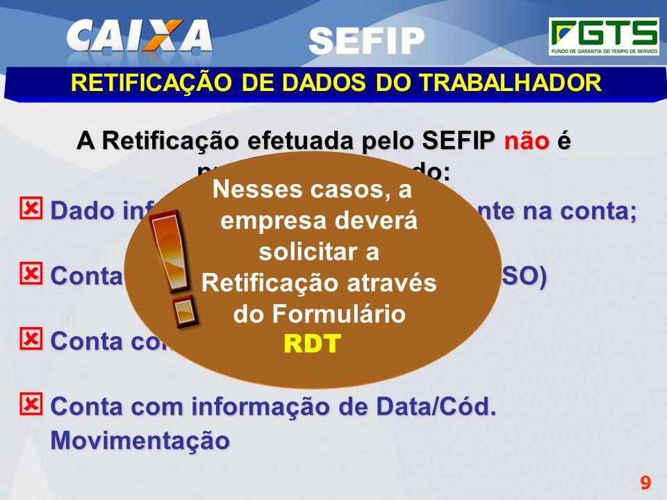 SEFIP A Retificação efetuada pelo SEFIP não é processada quando: