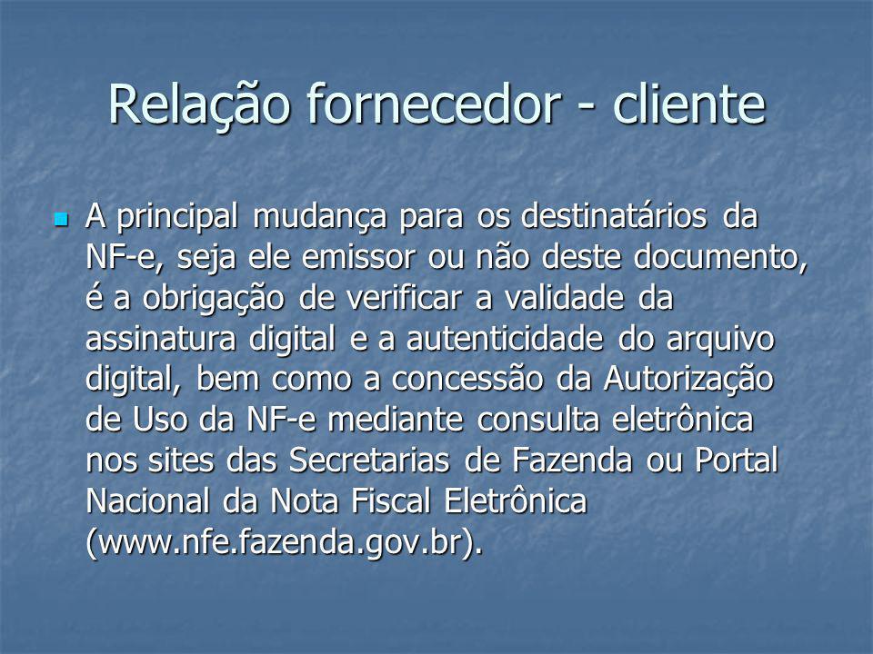 Relação fornecedor - cliente