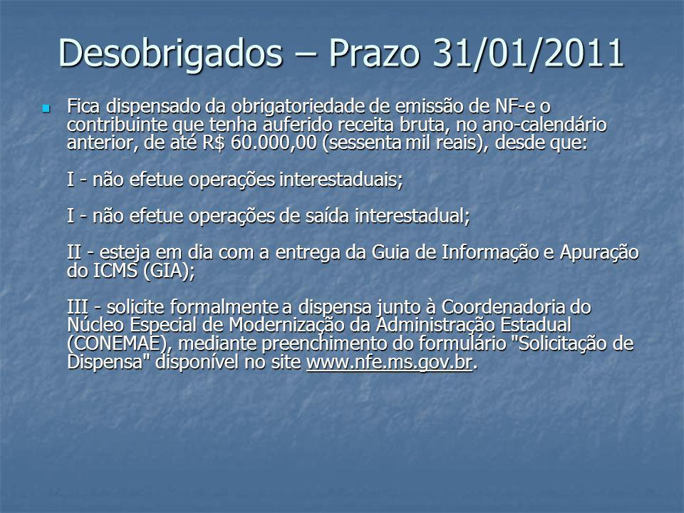 Desobrigados – Prazo 31/01/2011