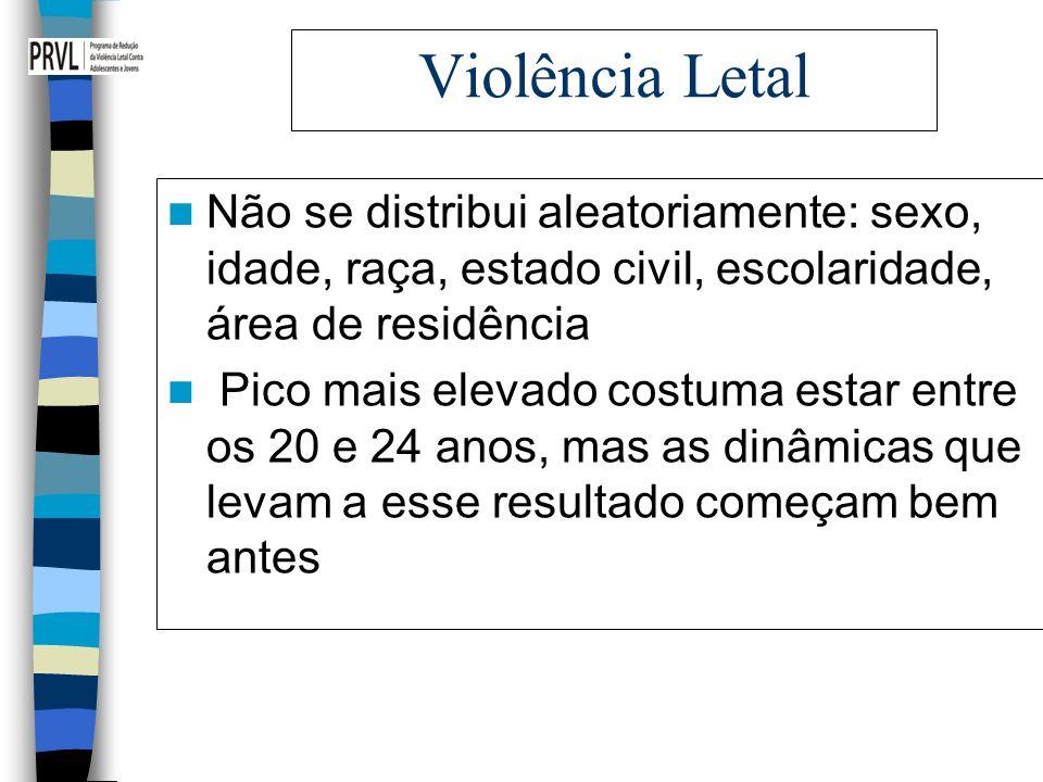 Violência Letal Não se distribui aleatoriamente: sexo, idade, raça, estado civil, escolaridade, área de residência.