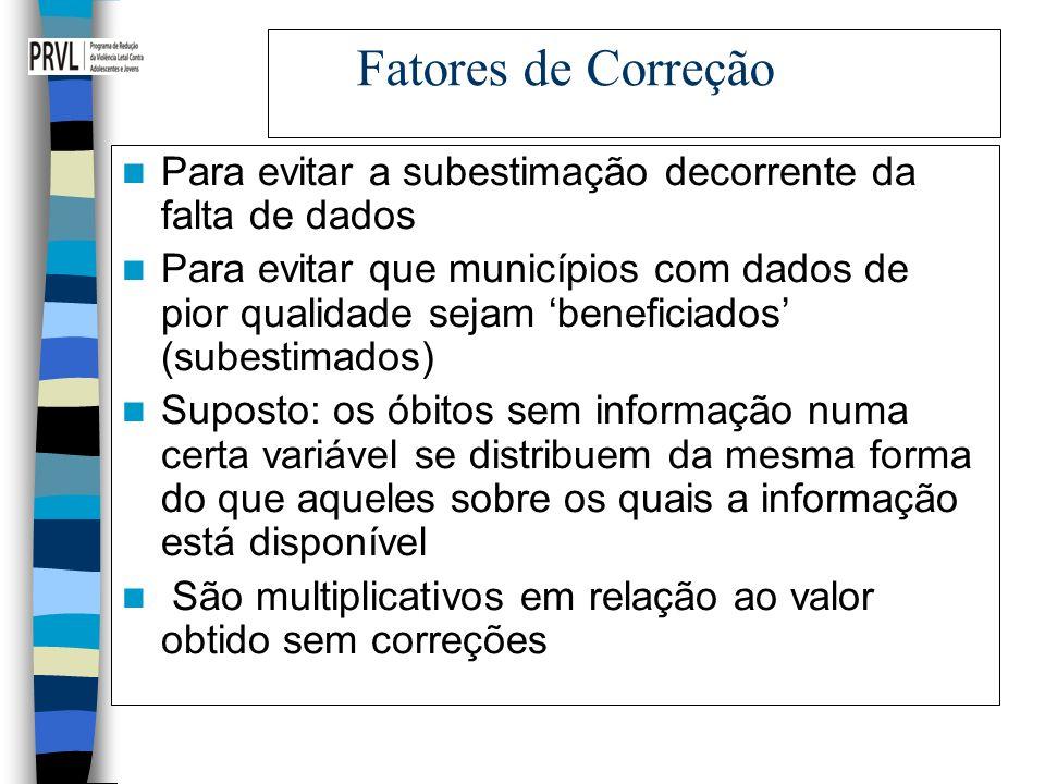 Fatores de Correção Para evitar a subestimação decorrente da falta de dados.