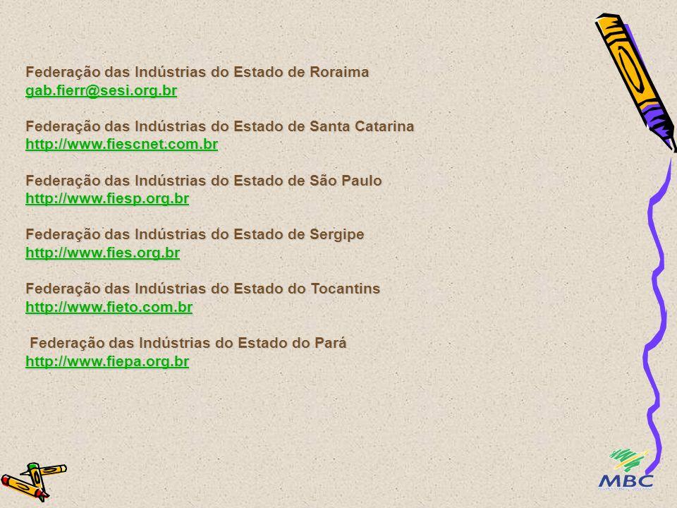 Federação das Indústrias do Estado de Roraima gab. fierr@sesi. org