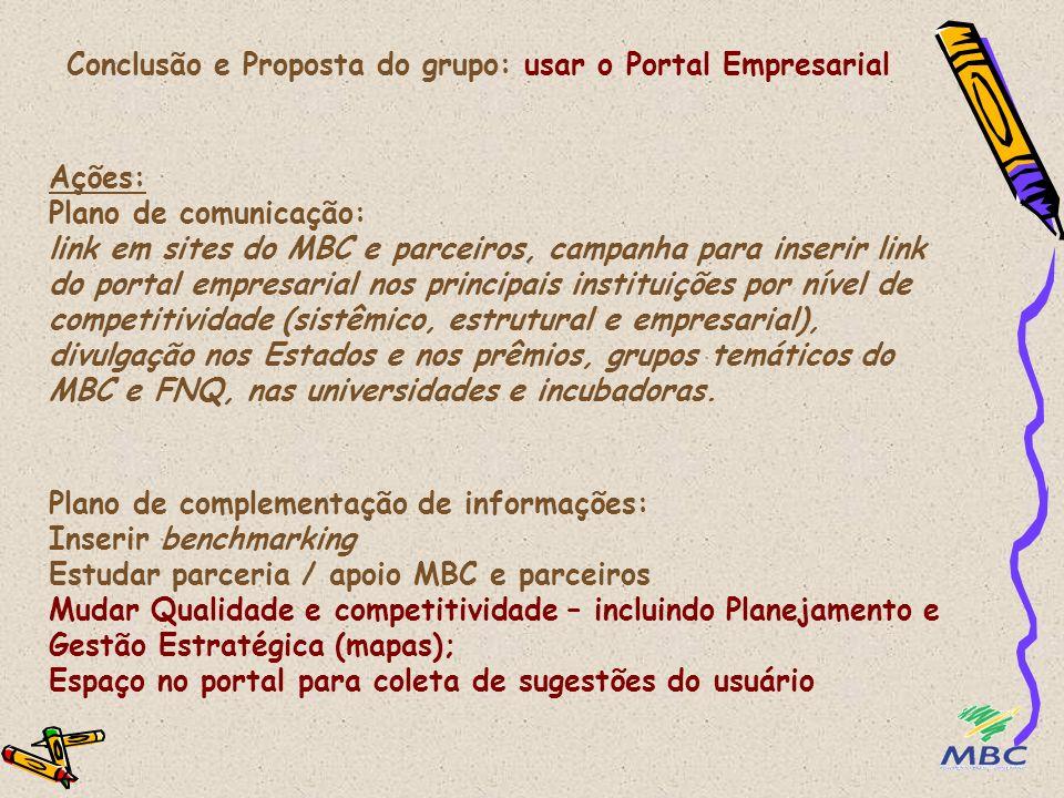 Conclusão e Proposta do grupo: usar o Portal Empresarial