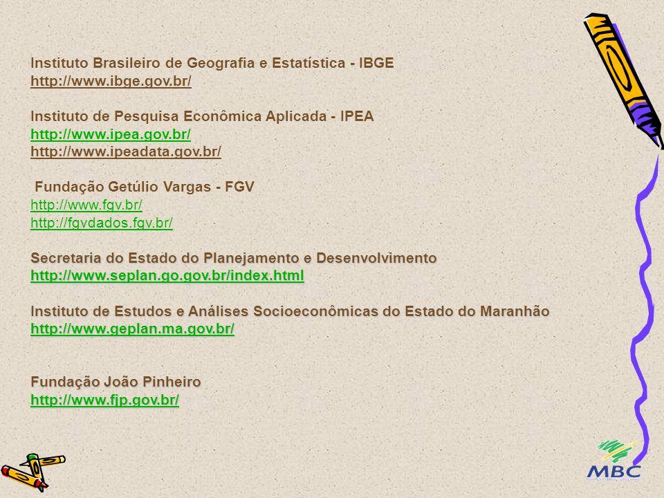 Instituto Brasileiro de Geografia e Estatística - IBGE http://www.ibge.gov.br/ Instituto de Pesquisa Econômica Aplicada - IPEA http://www.ipea.gov.br/ http://www.ipeadata.gov.br/ Fundação Getúlio Vargas - FGV http://www.fgv.br/ http://fgvdados.fgv.br/ Secretaria do Estado do Planejamento e Desenvolvimento http://www.seplan.go.gov.br/index.html Instituto de Estudos e Análises Socioeconômicas do Estado do Maranhão http://www.geplan.ma.gov.br/ Fundação João Pinheiro http://www.fjp.gov.br/