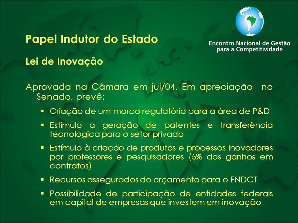 Papel Indutor do Estado