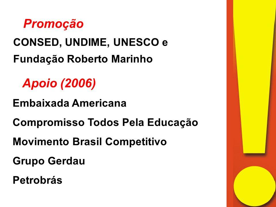 Promoção CONSED, UNDIME, UNESCO e Fundação Roberto Marinho. Apoio (2006) Embaixada Americana. Compromisso Todos Pela Educação.