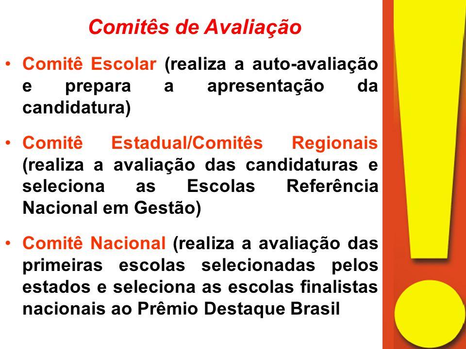 Comitês de Avaliação Comitê Escolar (realiza a auto-avaliação e prepara a apresentação da candidatura)