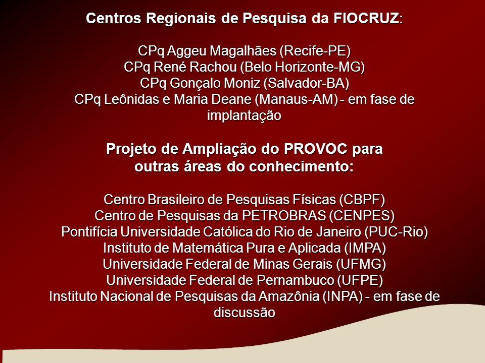Projeto de Ampliação do PROVOC para outras áreas do conhecimento: