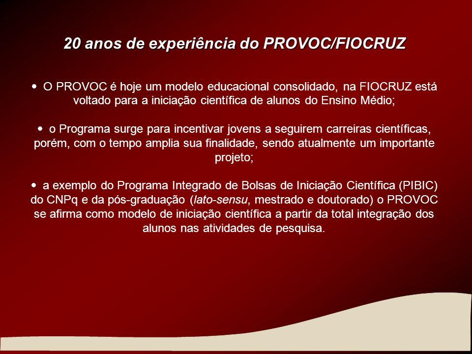 20 anos de experiência do PROVOC/FIOCRUZ