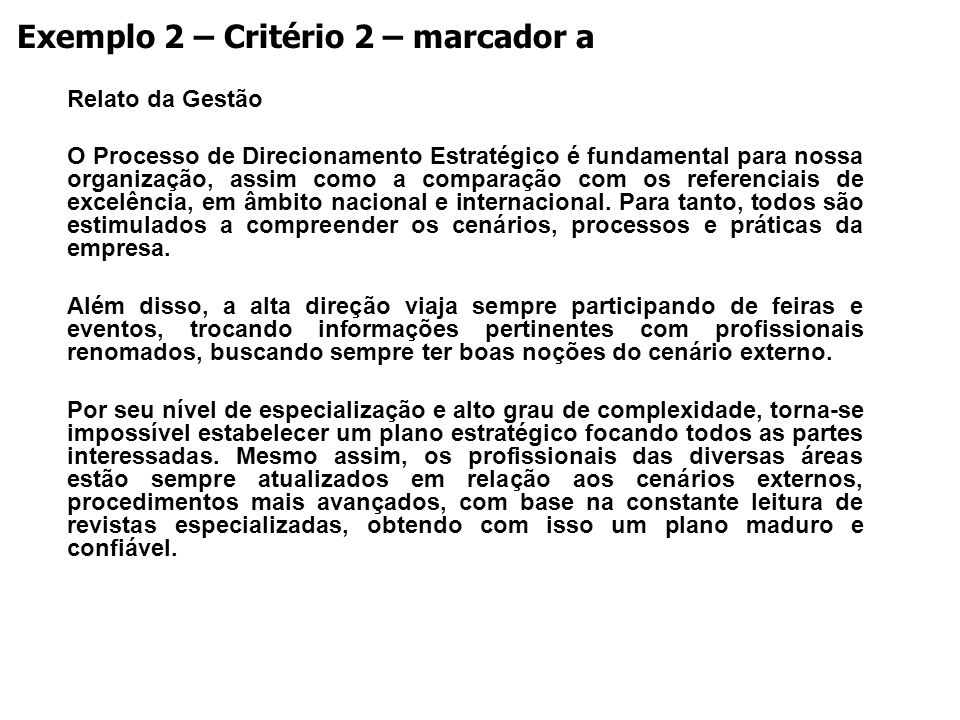 Exemplo 2 – Critério 2 – marcador a