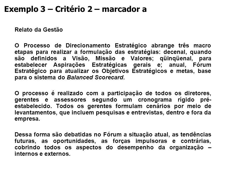 Exemplo 3 – Critério 2 – marcador a