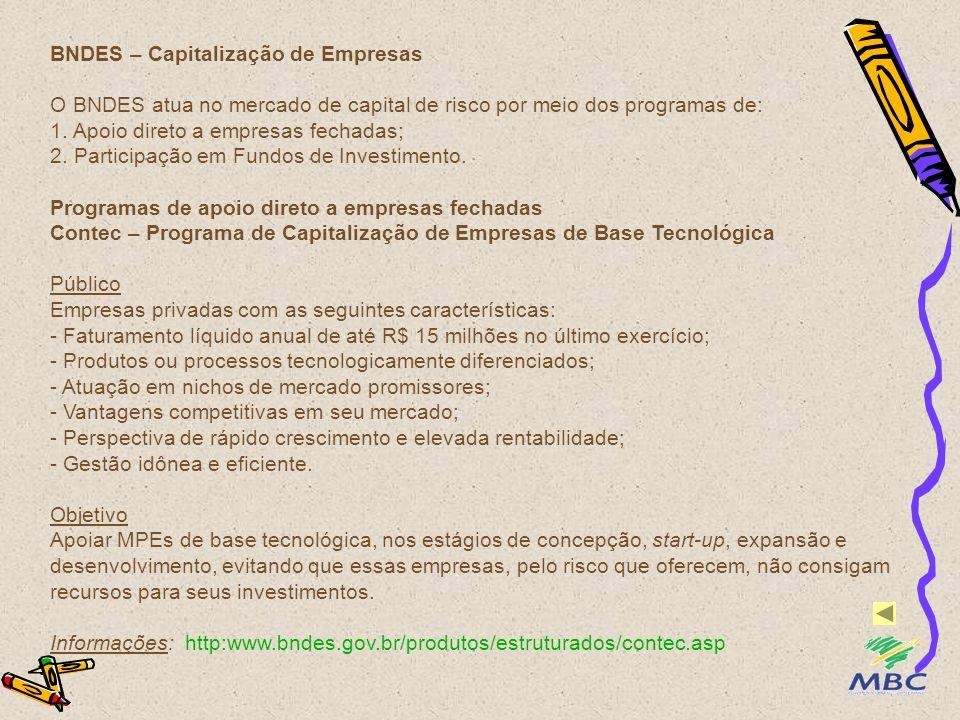 BNDES – Capitalização de Empresas O BNDES atua no mercado de capital de risco por meio dos programas de: 1.