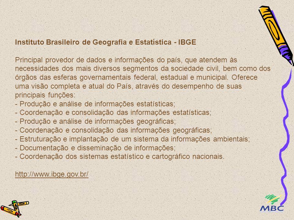 Instituto Brasileiro de Geografia e Estatística - IBGE Principal provedor de dados e informações do país, que atendem às necessidades dos mais diversos segmentos da sociedade civil, bem como dos órgãos das esferas governamentais federal, estadual e municipal.