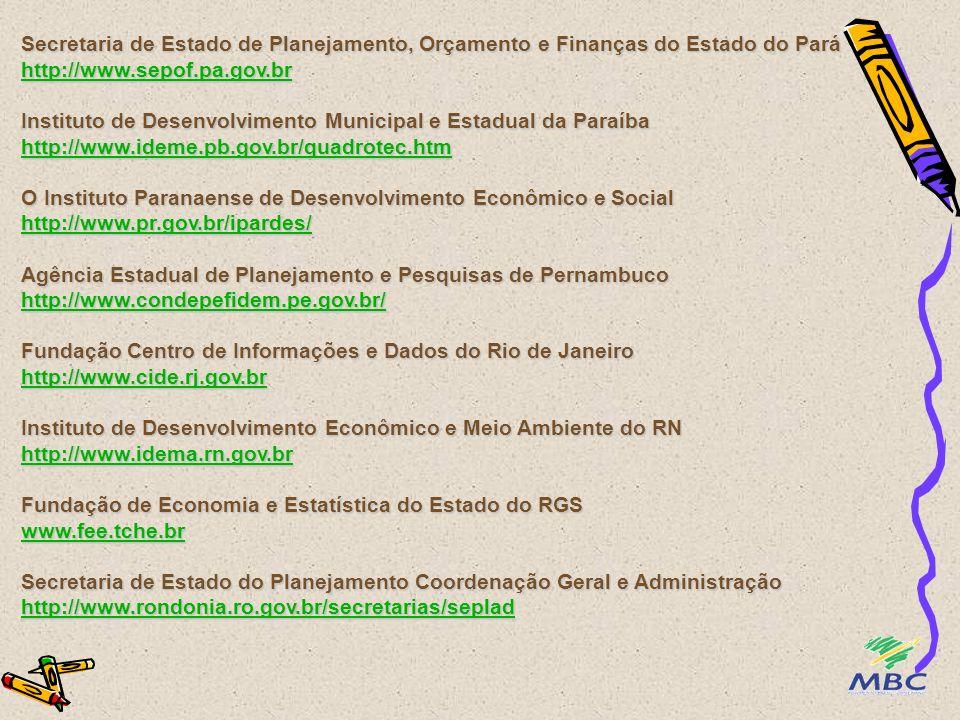 Secretaria de Estado de Planejamento, Orçamento e Finanças do Estado do Pará http://www.sepof.pa.gov.br Instituto de Desenvolvimento Municipal e Estadual da Paraíba http://www.ideme.pb.gov.br/quadrotec.htm O Instituto Paranaense de Desenvolvimento Econômico e Social http://www.pr.gov.br/ipardes/ Agência Estadual de Planejamento e Pesquisas de Pernambuco http://www.condepefidem.pe.gov.br/ Fundação Centro de Informações e Dados do Rio de Janeiro http://www.cide.rj.gov.br Instituto de Desenvolvimento Econômico e Meio Ambiente do RN http://www.idema.rn.gov.br Fundação de Economia e Estatística do Estado do RGS www.fee.tche.br Secretaria de Estado do Planejamento Coordenação Geral e Administração http://www.rondonia.ro.gov.br/secretarias/seplad