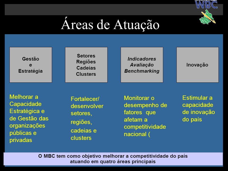 Áreas de Atuação Gestão. e. Estratégia. Setores. Regiões. Cadeias Clusters. Indicadores. Avaliação Benchmarking.