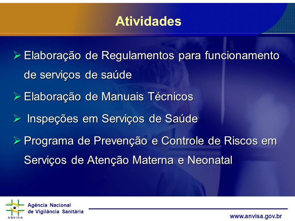 Atividades Elaboração de Regulamentos para funcionamento de serviços de saúde. Elaboração de Manuais Técnicos.