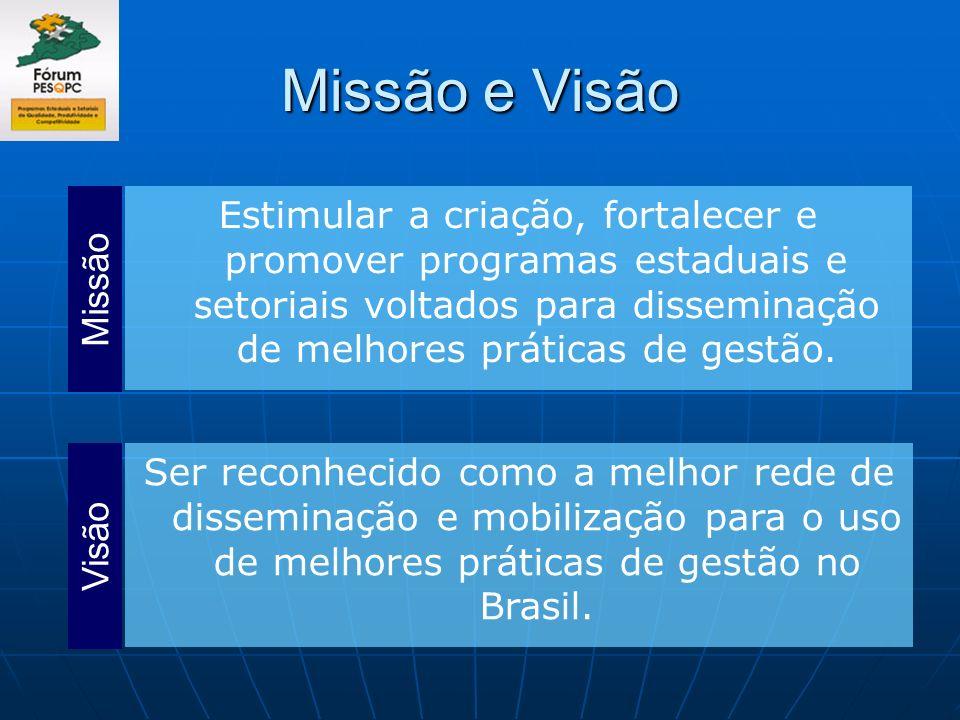Missão e VisãoEstimular a criação, fortalecer e promover programas estaduais e setoriais voltados para disseminação de melhores práticas de gestão.