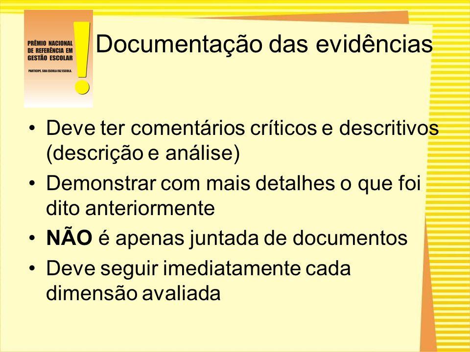 Documentação das evidências