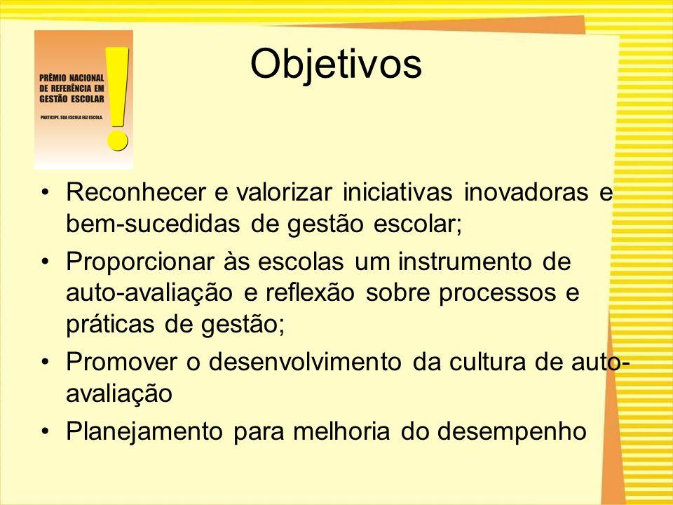 Objetivos Reconhecer e valorizar iniciativas inovadoras e bem-sucedidas de gestão escolar;