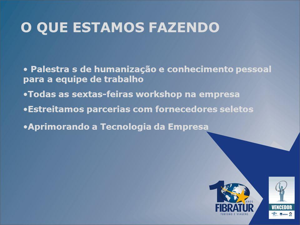 O QUE ESTAMOS FAZENDOPalestra s de humanização e conhecimento pessoal para a equipe de trabalho. Todas as sextas-feiras workshop na empresa.